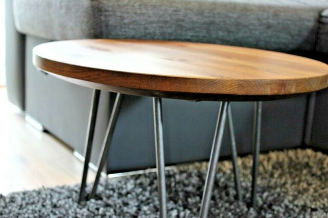 Drum Shaped Coffee Table.Rustic Industrial Wood Round Coffee Table Metal Hairpin Legs Different Sizes