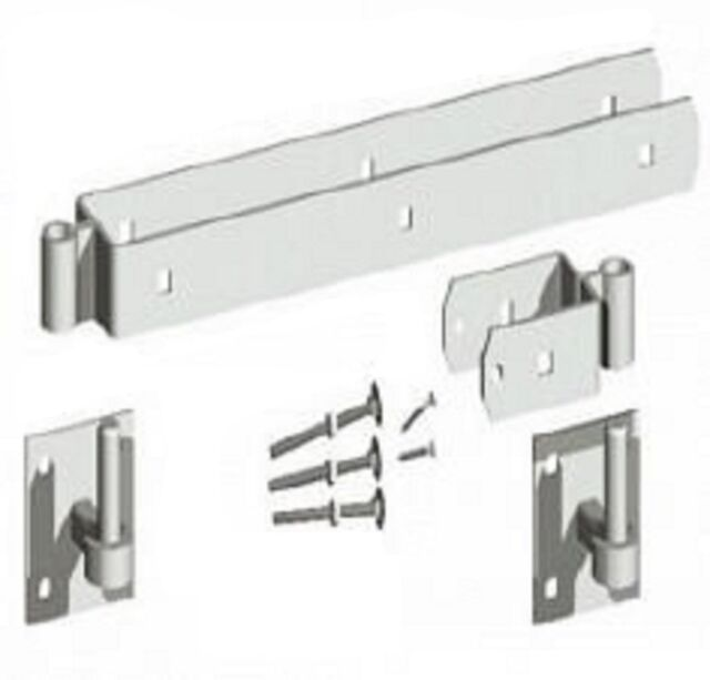 """Double Strap Field Gate Hinge Set  with Hooks Galvanised 12/"""" 18/"""" 24/"""""""