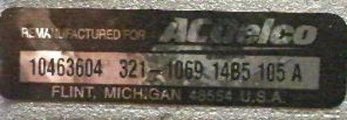 ACDelco REMAN ALTERNATOR 1995  2.2L  PONTIAC SUNFIRE CHEVY CAVALIER