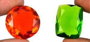 Brazilian Peridot & Topaz Mix Shape Gemstone Pair 90-100 Ct Certified