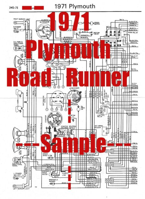 1971 Plymouth Roadrunner Full Car Wiring Diagram  High