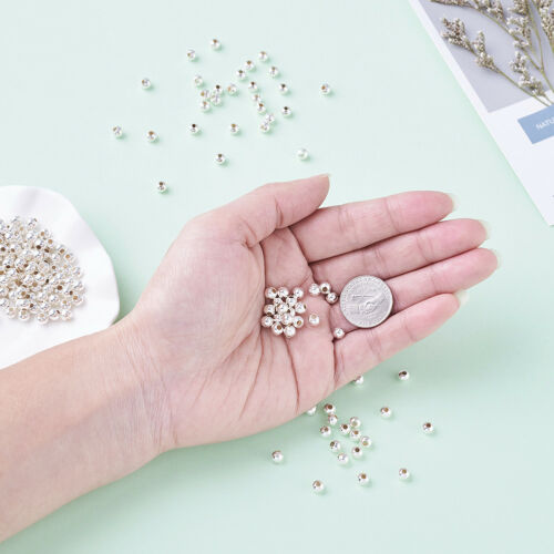 200 Pcs Iron Round Spacer Silver Color Beads Jewelry Making Crafts 5mm Hole 2mm