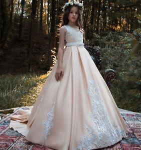 Flower Girl Dress Princess Party Wedding Pageant Bridesmaid Communion Prom Dress