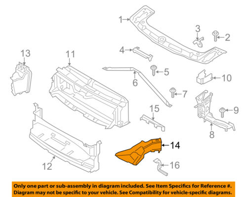BMW OEM 12-16 328i Radiator Core Support-Air Inlet Duct Tube Right 51747255418