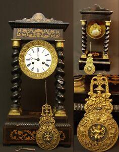 Adaptable Aa Rare Pendule Nap Iii Horloge Portique à Colonnes Torsadées Marqueterie Facile à Lubrifier
