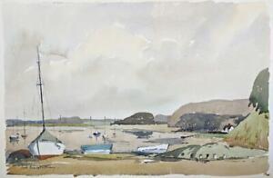 FRED-MARSHALLSAY-Watercolour-Painting-BOATS-AT-RAMSHOLT-SUFFOLK-1972