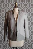 Helmut Lang Gray Warped Suiting Jacket Blazer 6 $795 Leather