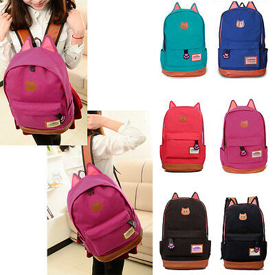 Girl Cute Canvas Cat Ear Backpack School Campus Bag Travel Rucksack Outdoor