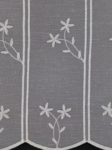 Scheibengardine nach Maß Gardine Bistrogardine 11565 weiß bestickt 34 cm hoch