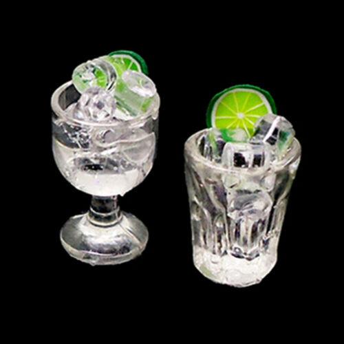 2Pcs 1:12 taza de agua de limón en miniatura de accesorios de casa de Muñecas Juguete Tazas decorationhc