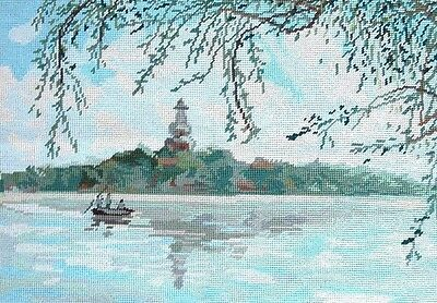 """EP Completed Wool Needlepoint Canvas Beautiful Lake Scene 14""""x20"""""""