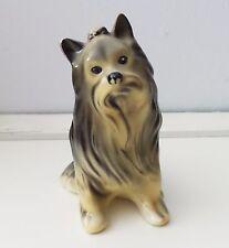 Vintage Old Ceramic Yorkie Dog Figurine Yorkshire Terrier Bone China