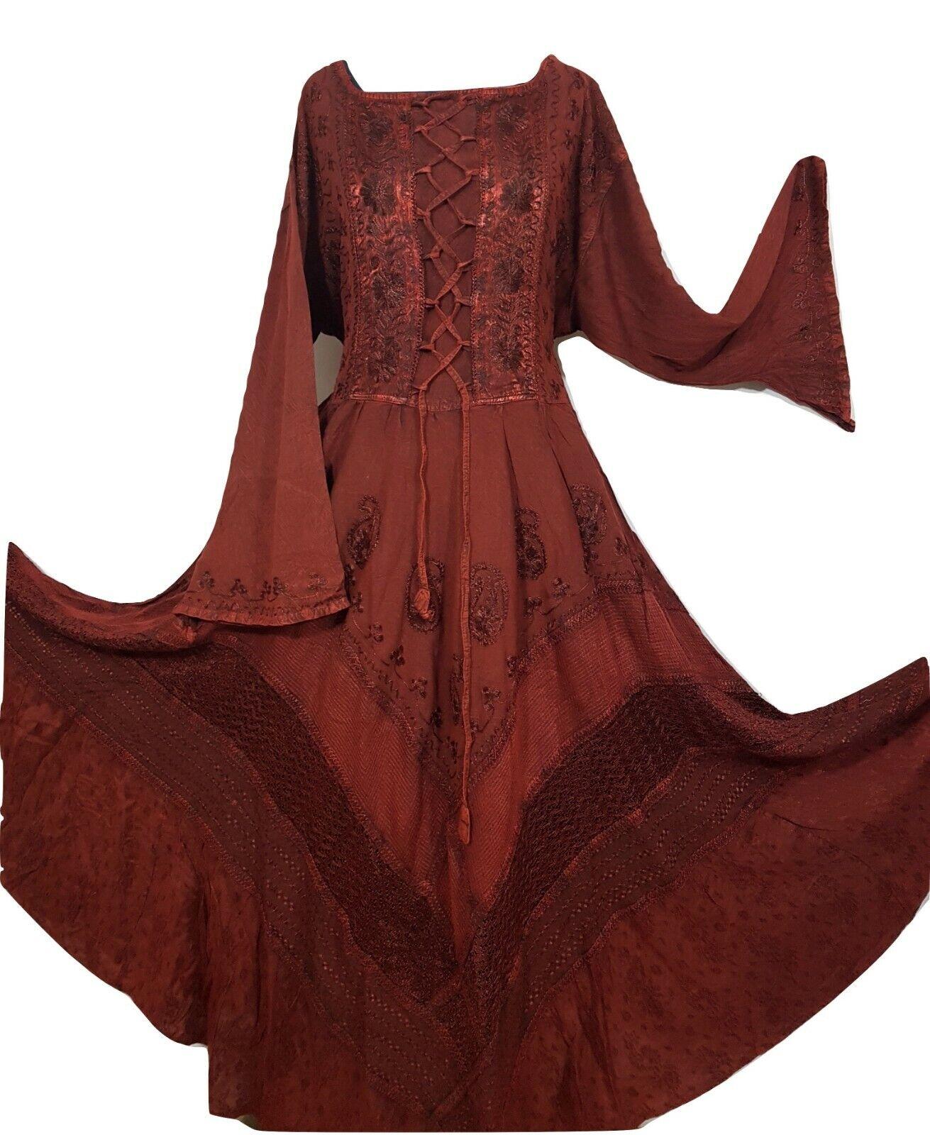 Rinascimento Bell Manica Vittoriano Medievale Flare Vestito con Corsetto Orlo 14 16 18 20 22