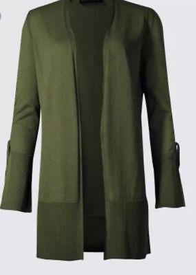 Brillant M&s Khaki Lurex Open Front Cardigan Small/xlarge Rrp £29.50 Kann Wiederholt Umgeformt Werden.