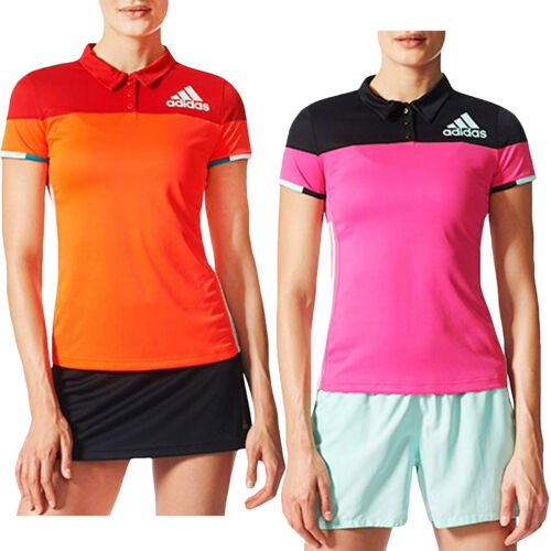 2XS adidas Performance Womens Colorblock Short Sleeve Badminton Polo Shirt Red