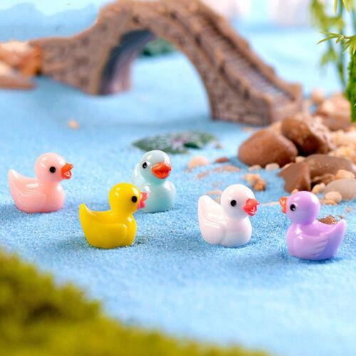 10pcs Flat Back Resin Ducks DIY Decoration Crafts Making Fairy Garden JC