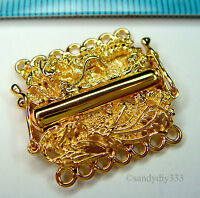 1x VERMEIL REAL 18K GOLD plated STERLING SILVER 7-STRAND DRAGON BOX CLASP G163