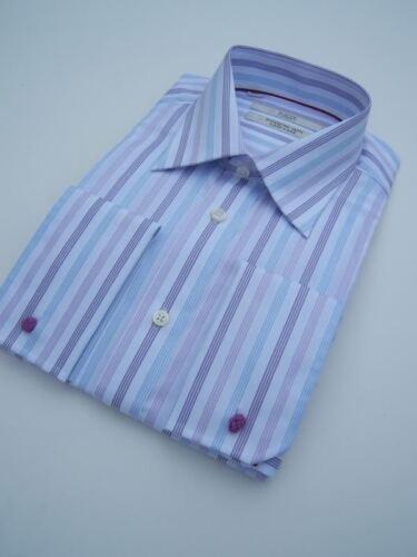 "£ 5 homme bleu lilas blanc à rayures col chemise en coton 16 /""double french cuff"