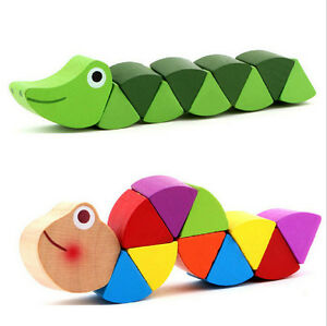 New-Hot-Wooden-Crocodile-Caterpillars-Toys-Baby-Kids-Educational-Colours-Gift-yb
