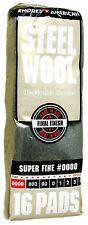 Case Rhodes American Steel Wool Grade 0000 - Super Fine ~ (6 bags of 16 pads)