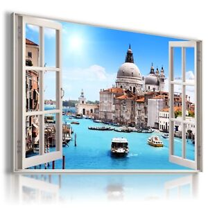 ITALY CITY 3D Window View Canvas Wall Art Picture Large SIZE W339 MATAGA