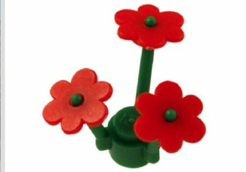 LEGO: Pack of 10 Green Stems /& 32 Red Flowers. 3741 // 3742 BRAND NEW.