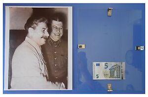 STALIN-stretta-di-mano-URSS-Comunismo-quadro-cornice-vetro-cm-30x24