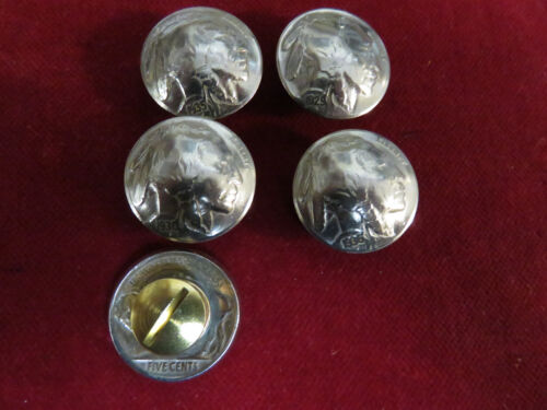 """CONCHOS 5 Real Coin High Grade /"""" Indian/""""  Nickles Post /& screw"""
