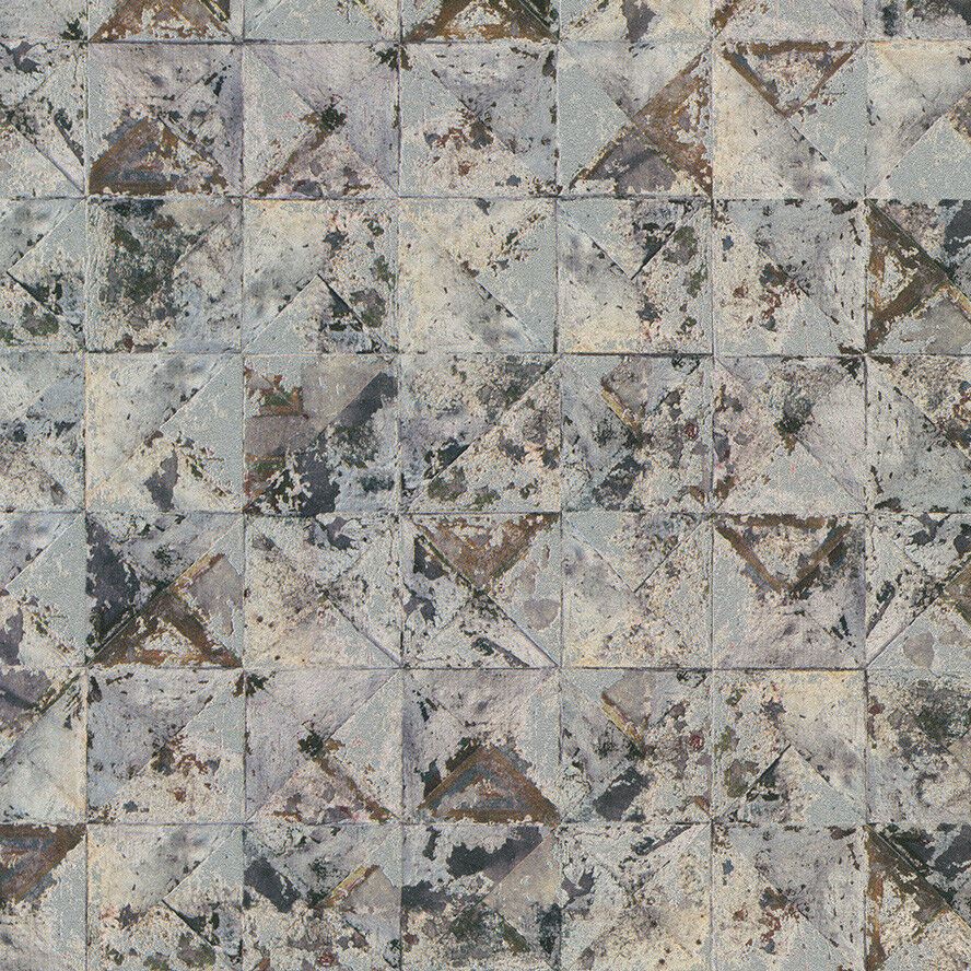 Vlies Tapete Beton Mosaik Fliesen Kacheln Grau Blau Silber Rost - Mosaik fliesen metallic