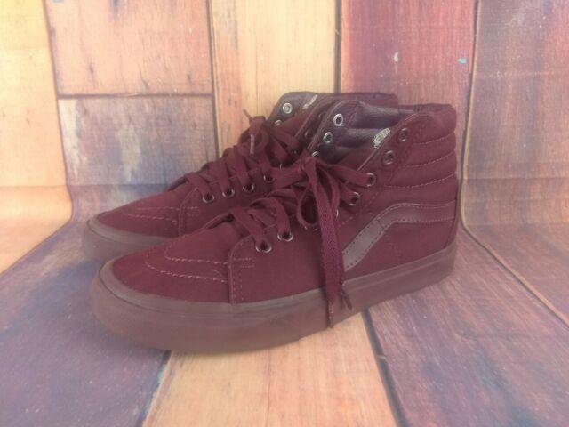 VANS Old School Burgundy Canvas Skate High Top Shoes Size 7.5 Mens 9 Womens