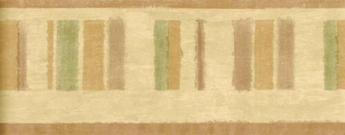 Modern Abstract Green Brown Stripe Contemporary Geometric Wallpaper Border