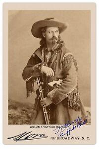 BUFFALO BILL CODY Old West Legend Vintage Mora Photo Cabinet Card RP