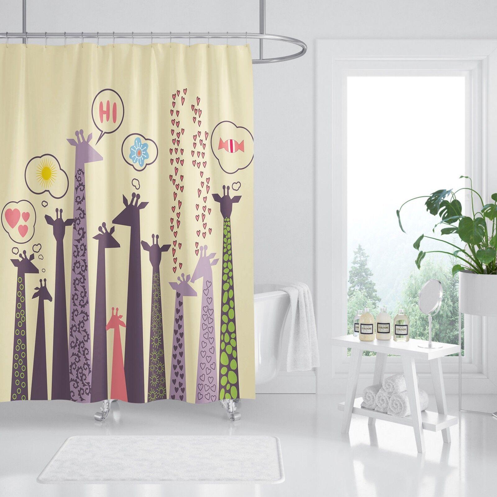 3D Girafe Animal 4 Rideau de Douche Imperméable Fibre Salle de Bain Home Windows Toilette
