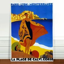 TX362 Vintage La Plage De Calvi Corse France French Travel Poster Broders A3//A4
