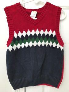 Toddler Boy Gymboree Sweater Vest Red With Navygreenwhite Size 3