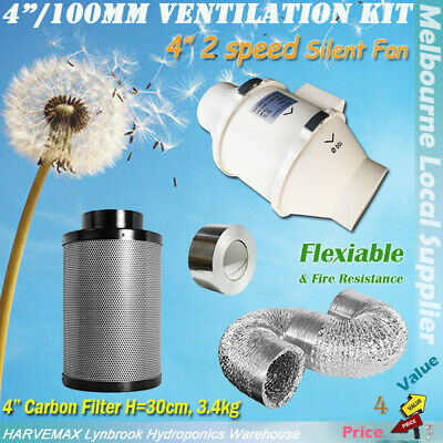 "Carbon Filter Kit 5/""-6/"" For Hydroponic Grow Tent Silent Tube Extractor Fan"