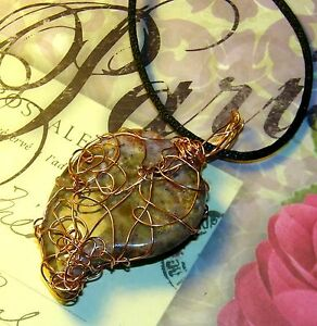 AWESOME-HAND-CRAFTED-COPPER-WIRE-WRAPPED-INDIAN-AGATE-CRYSTAL-HEART-PENDANT