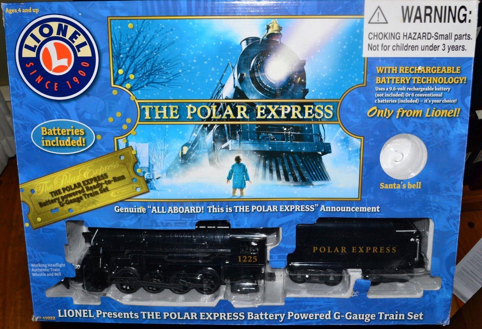 G calibre Lionel Polar Express 7-11022 Motor, licitación, 2 autos, Hobo, pista en Caja