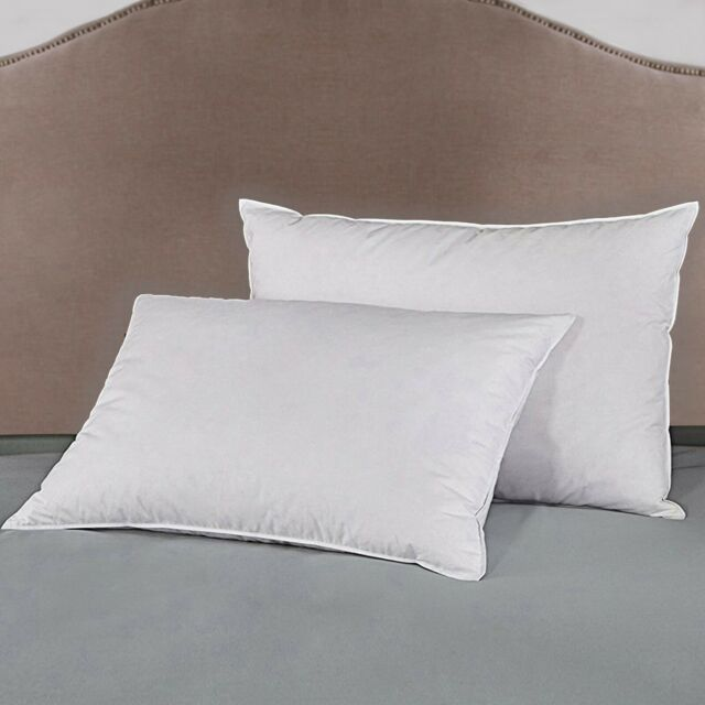 Queen Size Down and Feather Blend 100/% Cotton Cover Premium Bed Pillow 2 Pack