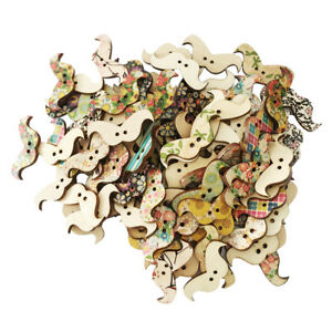 100pcs-Mixed-Moustache-2-Hole-Wood-Buttons-Scrapbook-Sewing-Cardmaking-Craft