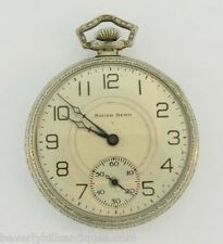 Rare South Bend Art Deco Gold Filled Open Face 17 Jewels Pocket Watch