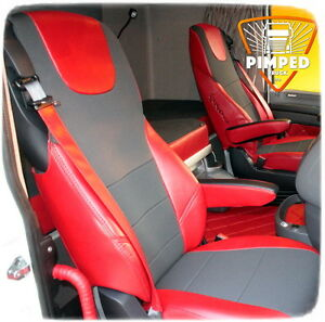 DAF XF TRUCK 2 PIECE  FULL CAR SEAT COVER SET RED STRIPES