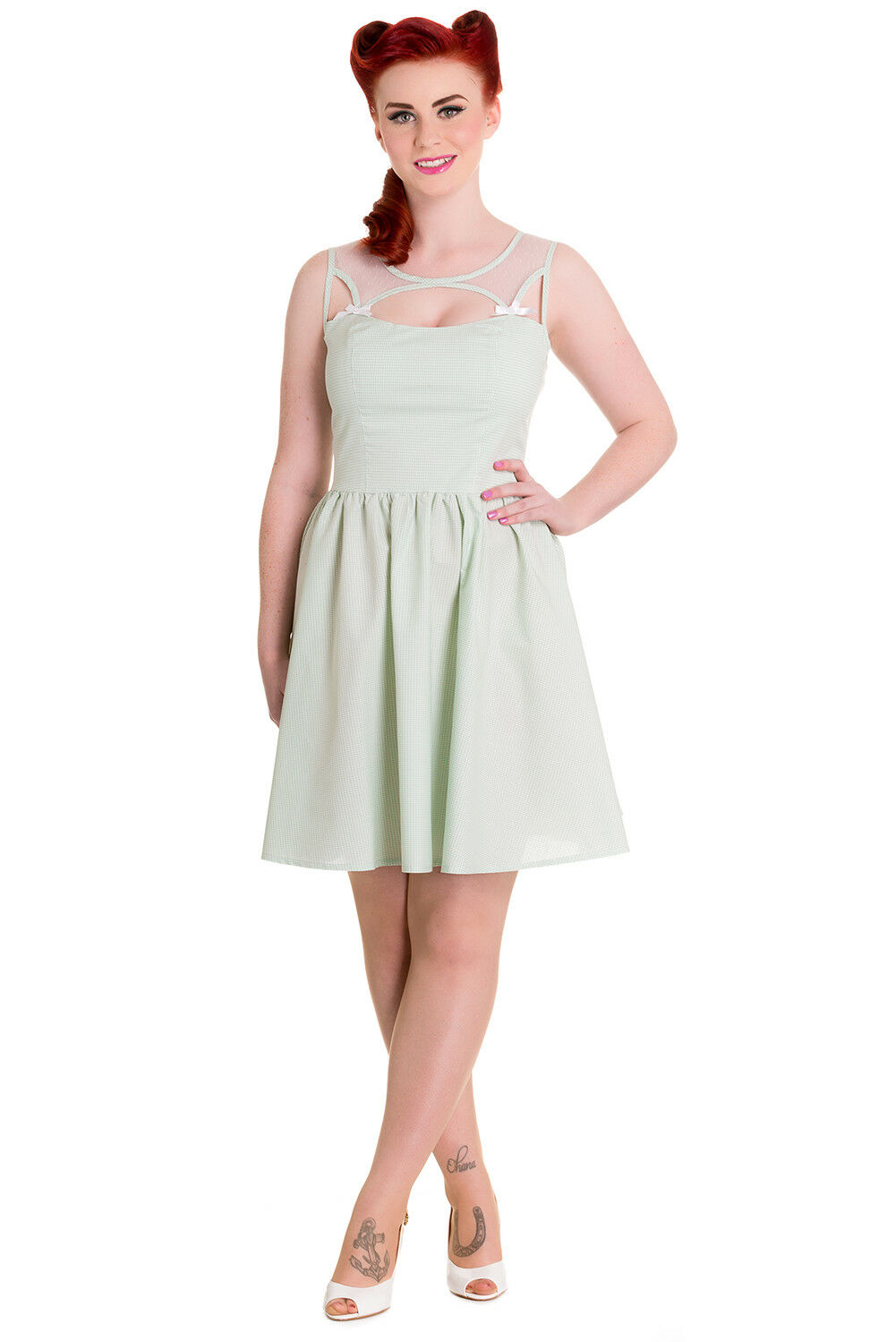 Hell Bunny Alice Mint Grün Gingham Check Sheer Top Party Dress