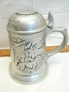 Vintage Bruce Fox Pewter Stein Game Bird Hunting Tankard Mug Lidded