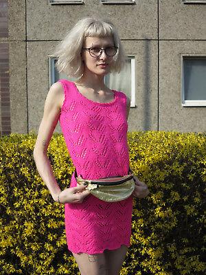 Volitivo Miniabito Abito A Maglia Abito Estivo Vestito Rosa 90er True Vintage 90s Knitted Dress- Il Prezzo Rimane Stabile