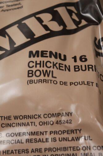 American MRE menu Poulet 16 riz Burrito 2022 USA Authentique Armée Ration UP2.54