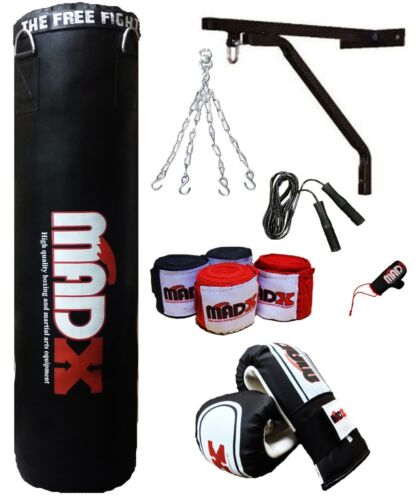 Kickbag Catena MADX 7 PEZZI 4 piedi BOXING SET Riempito Heavy Punch Bag Guanti staffa