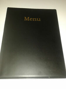 QTY-10-TEN-A4-MENU-COVER-FOLDER-IN-BLACK-LEATHER-LOOK-PVC-extra-double-pocket