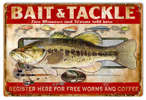 Bait-And-Tackle-Reproduction-Hunting-And-Fishing-Metal-Sign-12x18-RVG294