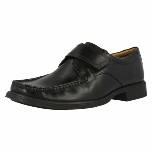Mens Clarks Huckley Roll Black Leather Smart Riptape Strap Shoes G Fitting